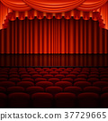 Stage with red curtain. EPS 10 vector 37729665