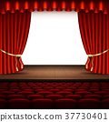Stage with red curtain. EPS 10 vector 37730401