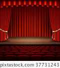 Stage with red curtain. EPS 10 vector 37731243