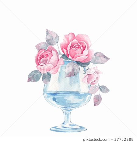 glass vase with flowers watercolor illustration stock