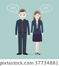 Man and Woman with headphone customer service icon 37734881