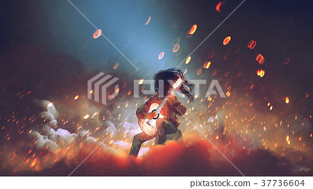mysterious man with glowing guitar 37736604