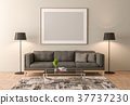 Blank picture frame interior mock up 37737230