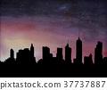 황혼의 도시의 스카이 라인과 밤하늘 37737887