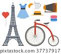 Paris icons vector famous travel cuisine 37737917