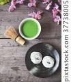 Mochi with matcha green tea Japanese dessert 37738005
