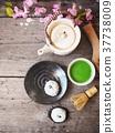 Mochi with matcha green tea Japanese dessert 37738009