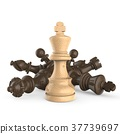 White king standing over fallen black chess pieces 37739697