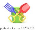 Toy bucket, rake and spade. 3D 37739711