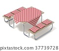 Picnic table with red table cover and pillows. 3D 37739728