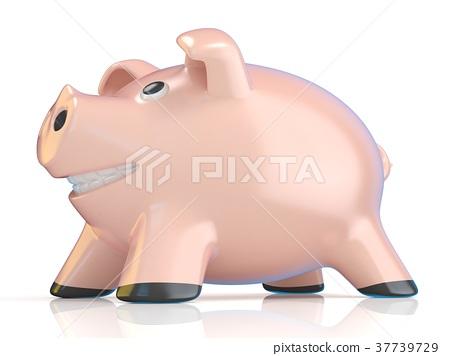 Piggy bank concept, Ceramic pig. 3D 37739729