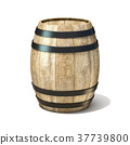 Wooden wine barrel. 3D 37739800