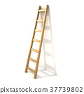 Wooden ladder, near white wall. 3D 37739802