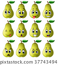 pear with different emoticons 37743494