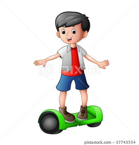 young boy riding a electric scooter 37743554