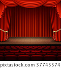 Stage with red curtain. EPS 10 vector 37745574