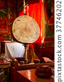 Big ritual drum in the tibetan monastery 37746202