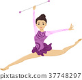 Teen Girl Baton Twirling Exhibition 37748297
