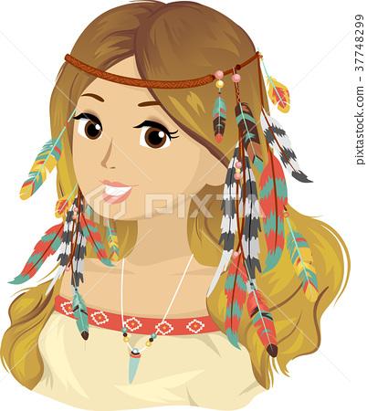 Teen Girl Bohemian Hair Feathers 37748299