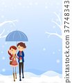 Stickman Couple Teen Snow Background 37748343