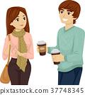 Teen Couple Students Coffee 37748345