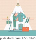 Clothes shopping concept illustration.In flat thin 37752845