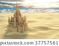 Sand castle on the beach on the sea and sky 37757561