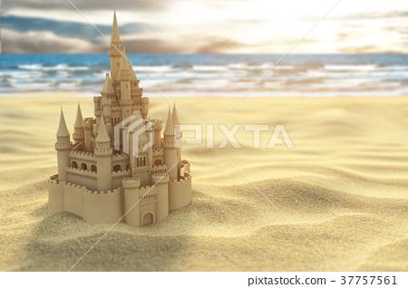 Sand castle on the beach on the sea and sky 37757561