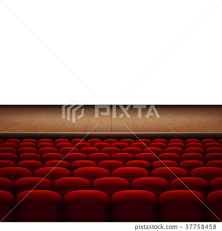 Rows of red cinema or theater seats isolated on 37758458