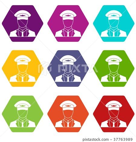 Pilot icon set color hexahedron 37763989