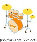 Drum icon, isometric style 37765595