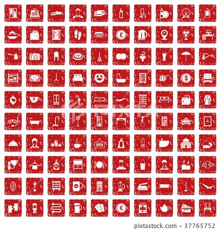 100 inn icons set grunge red 37765752