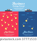 Red ocean and Blue ocean Business infographic 37771533