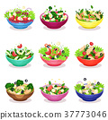 Various salads set, vegetable, fish and meat salad 37773046