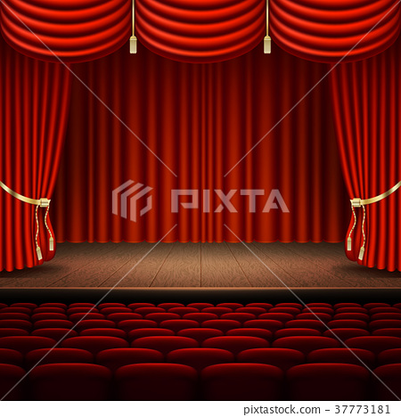 Stage with red curtain. EPS 10 vector 37773181
