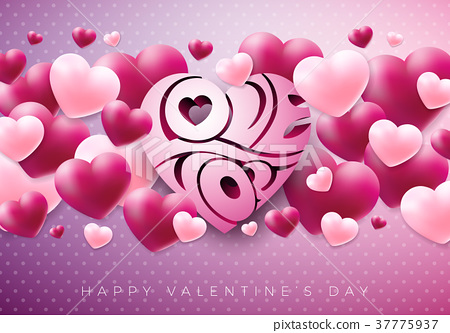 Happy Valentines Day Design with Red Heart on 37775937