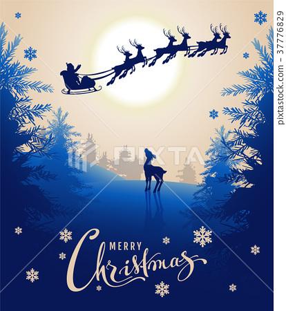 Merry Christmas card design text. Young deer 37776829