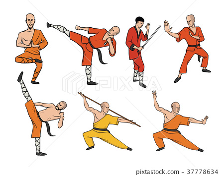 Shaolin monks practicing kung fu. Martial art 37778634