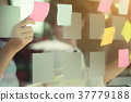 Business meeting Hands using sticky note on window 37779188