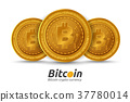 Three golden Bitcoin sign on white background. 37780014