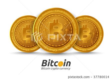 Three golden Bitcoin sign on white background. 37780014