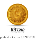 Golden Bitcoin sign on white background 37780019