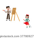 vector flat french culture, fashion people set 37780927
