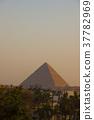 기자의 거리에서 보는 석양의 피라미드 37782969
