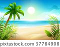 Sunny day on tropical sandy beach. Palm trees 37784908