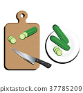 Cutting Board With kitchen knife And Cucumber. 37785209