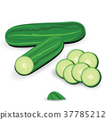 Fresh cucumbers and slices isolated on white. 37785212
