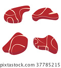 Meat set isolated white background. Red mat set. 37785215