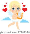 Cupid Angel With Harp 37787358