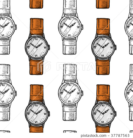 wristwatch seamless pattern or wristlet watch 37787563